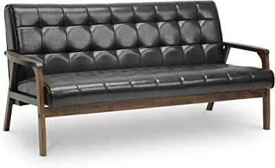 Astounding Amazon Com Baxton Studio Stratham Mid Century Modern Sofa Ibusinesslaw Wood Chair Design Ideas Ibusinesslaworg