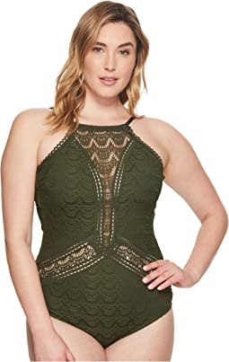 Plus Size Color Play High Neck One-Piece
