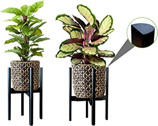 """2 Pack Plant Stands, MA SQUARED Adjustable (9.5"""" to 12""""), Flippable Bamboo Planter Holder & Flower Pot Stand With Semi-Rou..."""
