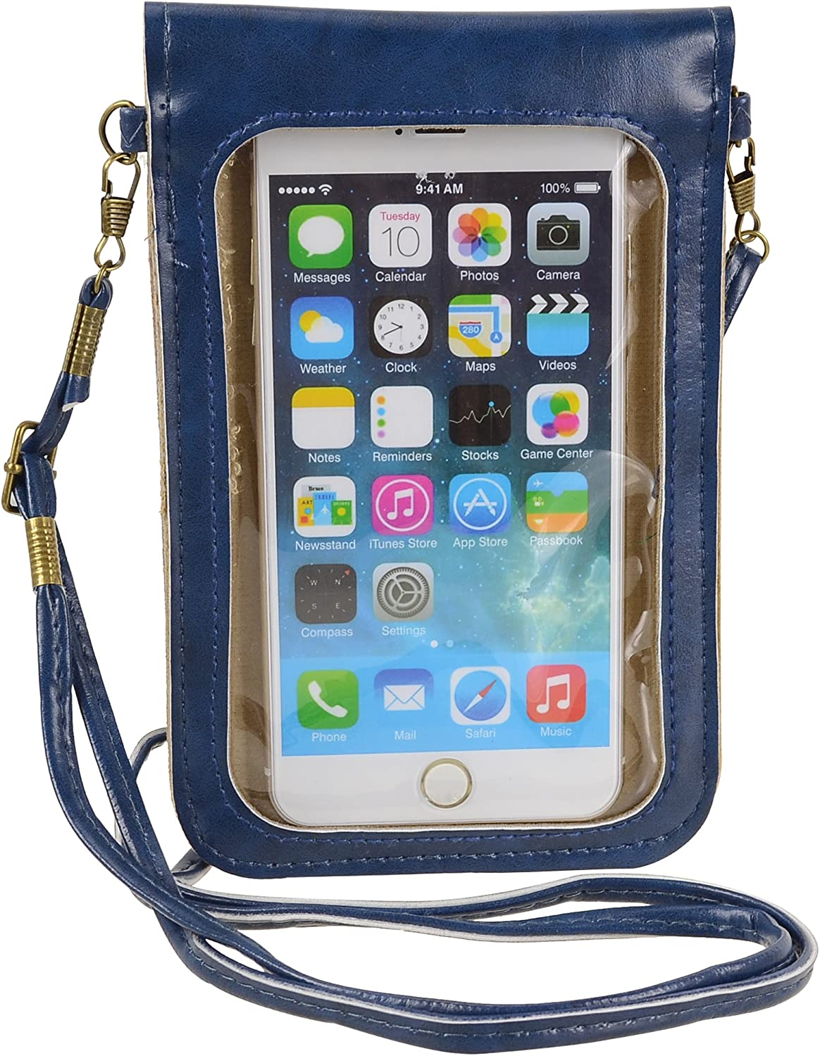 Little Cellphone Purse with Touch Screen Clear Window Travel Crossbody Bag for iPhone 11 Pro Max, XS Max, Galaxy S10 Plus S9+, A10S A10, Pixel 3 XL, 2XL Moto G8 Play Z4, Z3, OnePlus 6T BLU G90 (Blue)