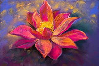 Masstone Pink Flower Modern Art Sparkle Coated Self Adhesive Painting Without Frame Digital Reprint (24 x 36 inch)
