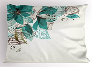 Ambesonne Turquoise Pillow Sham, Flowers Buds Leaf at The top Left Corner Season Celebrating Theme, Decorative Standard Queen Size Printed Pillowcase, 30 X 20, Teal Brown