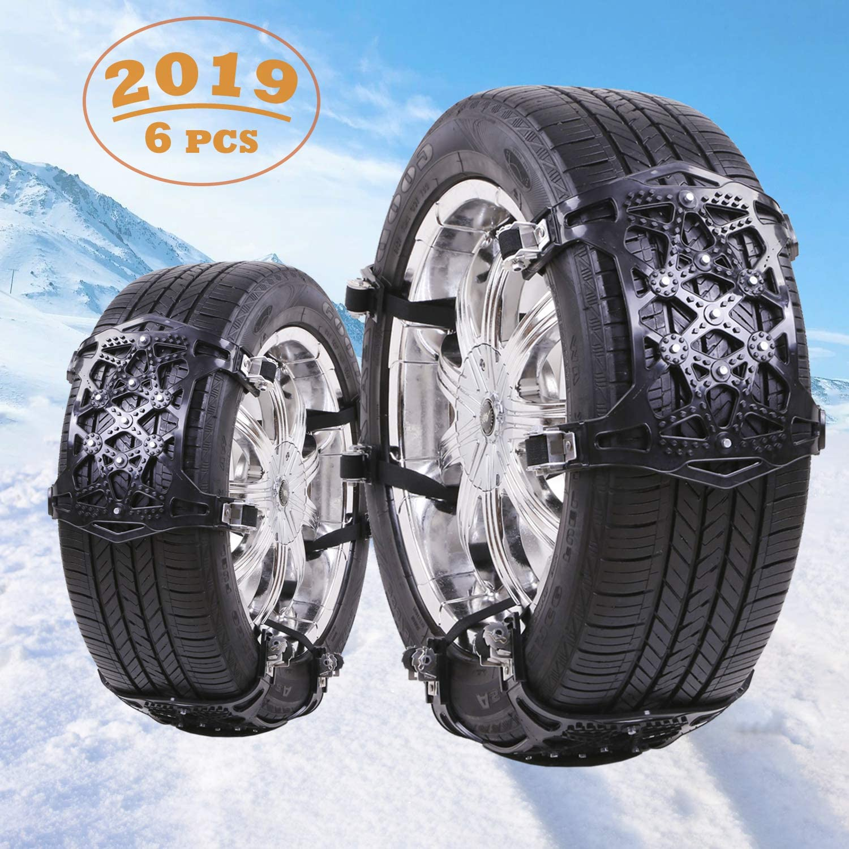 Qisiewell Cha/înes /à neige universelles 2020 jaunes faciles /à monter pour toutes les largeurs de pneus 165-285 mm Lot de 6 pi/èces