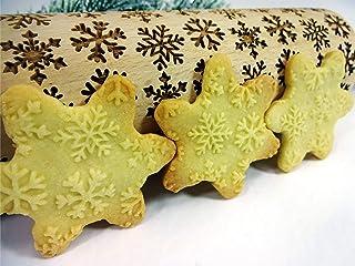 Geprägte Nudelholz Teigrolle mit SCHNEEFLOCKE Muster für Hausgemachtes Gebäck von Algis Crafts
