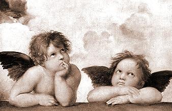 Bilderdepot24 Fotomural Raffael - Viejos Maestros Angel - Detalle de la Madonna Sixtina - sephia 155x100 cm - Directamente Desde el Fabricante