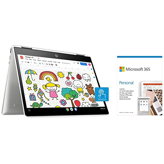 HP Chromebookx360 Intel Celeron N4020Processor 12-inch Touchscreen Laptop(Celeron N4020/4GB/64GB SSD/Chrome OS/Integrated Graphics/Natural Silver)Microsoft 365 Personal-One Year Subscription Included