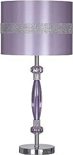 Ashley Furniture Signature Design - Nyssa Table Lamp with Drum Shade - Rhinestone Accents - Purple & Silver Finish