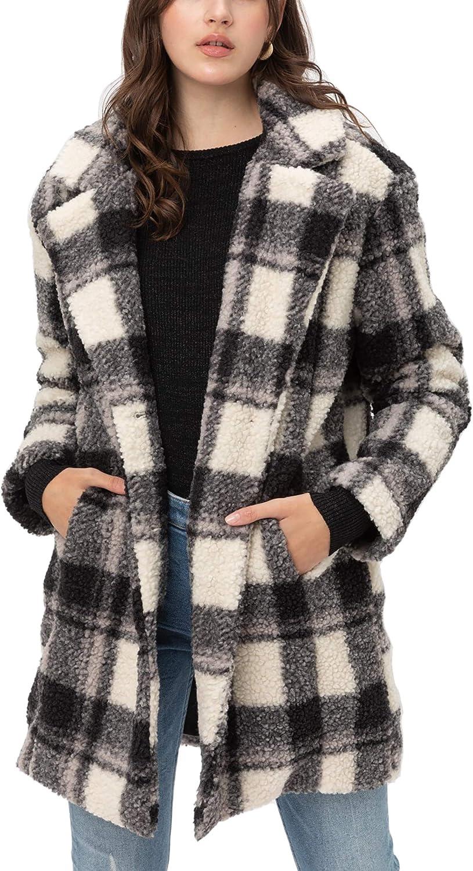 Women's Faux Fur Plaid Coats – Plaid Button Down Sherpa Fleece Long Jacket