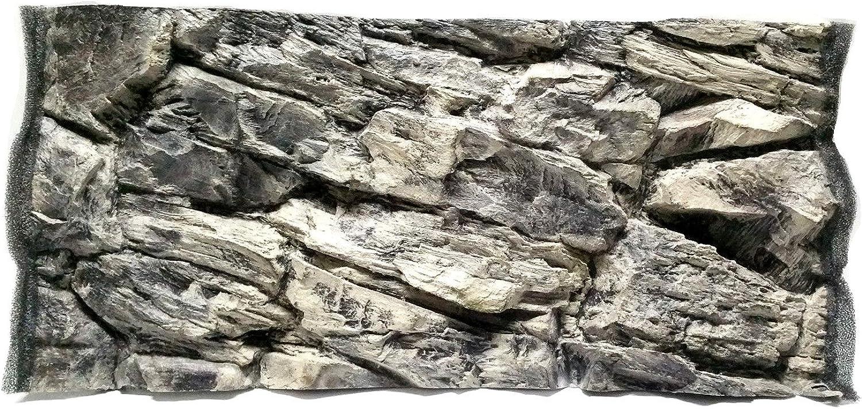Aqua Maniac 3D Aquarium Background, Grey Rock, Polyresin (Not Foam), 46 cm Thick, Unique Aqua Decor (57x27cm)