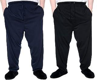 Brooklyn Big Plus Size Lounge Pants 2 Pack Navy/Black Pyjamas Soft 100% Cotton with Pockets