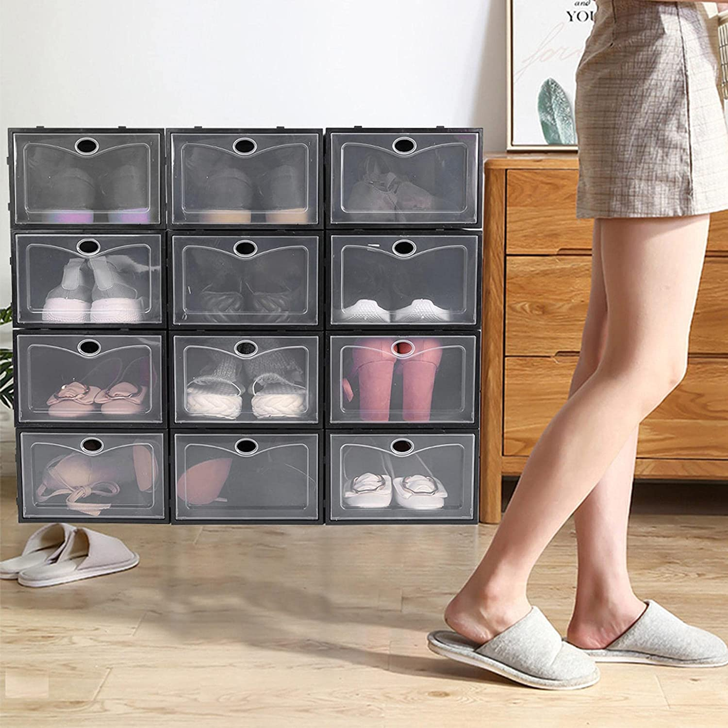 US Direct 初売り 12 Pack Shoe Storage S Plastic 販売 Boxes Clear Stackable