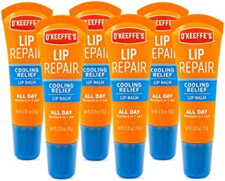 O'Keeffe's Cooling Relief Lip Repair Lip Balm for Dry, Cracked Lips.35 Ounce Tube, (Pack of 6)