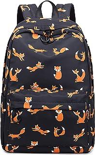 Joymoze Retro Colorful Print Trendy Backpack Women Cute Schoolbag Girl Black Fox