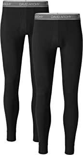 David Archy Men's 2 Pack Rib Stretchy Ultra Soft Winter Warm Base Layer Pants Thermal Bottoms Long Johns with Fly