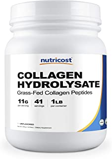 Nutricost Grass-Fed Collagen Powder 1LB (454 G) - Pure Grass Fed Bovine Collagen Hydrolysate (Unflavored) - Collagen Peptides