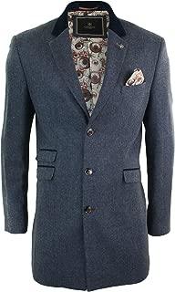 Mens 3/4 Long Wool Blue Peaky Blinders Overcoat Jacket Herringbone Tweed Vintage Navy 36