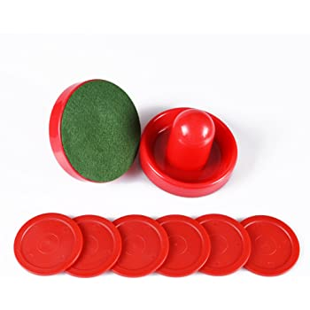 Air Hockey Red Replacement Pucks & Slider Pusher Goalies for Game Tables, Equipment, Accessories (2 Striker, 6 Puck Pack)