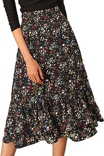 Allegra K Women's Printed Skirt Chiffon Elastic Waist Ruffle Tiered Flowy Midi Skirts