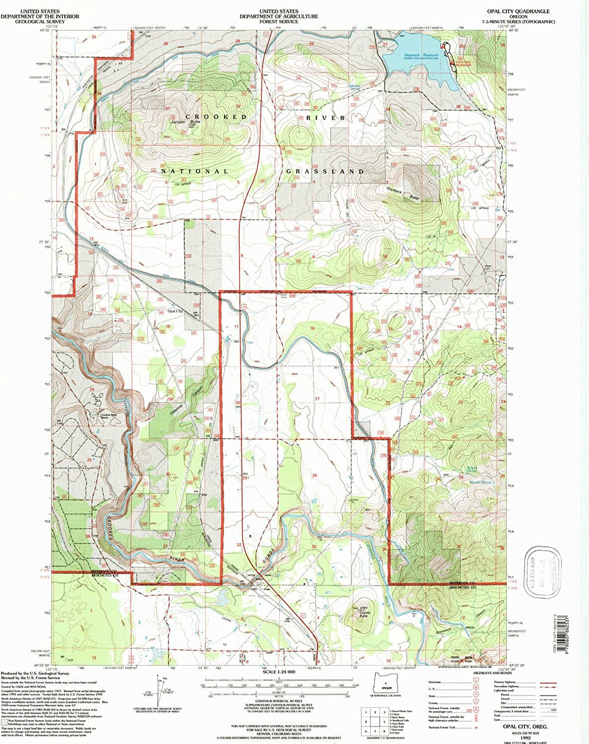 Opal City OR topo map, 1 24000 Scale, 7.5 X 7.5 Minute, Historical, 1992, Updated 1997, 26.7 x 21.9 in
