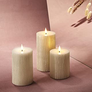 3D Flickering Flameless Candle Set - 3 Inch Diameter Pillar Candles, Battery Operated, Shimmering White Pearl Wax, Realist...