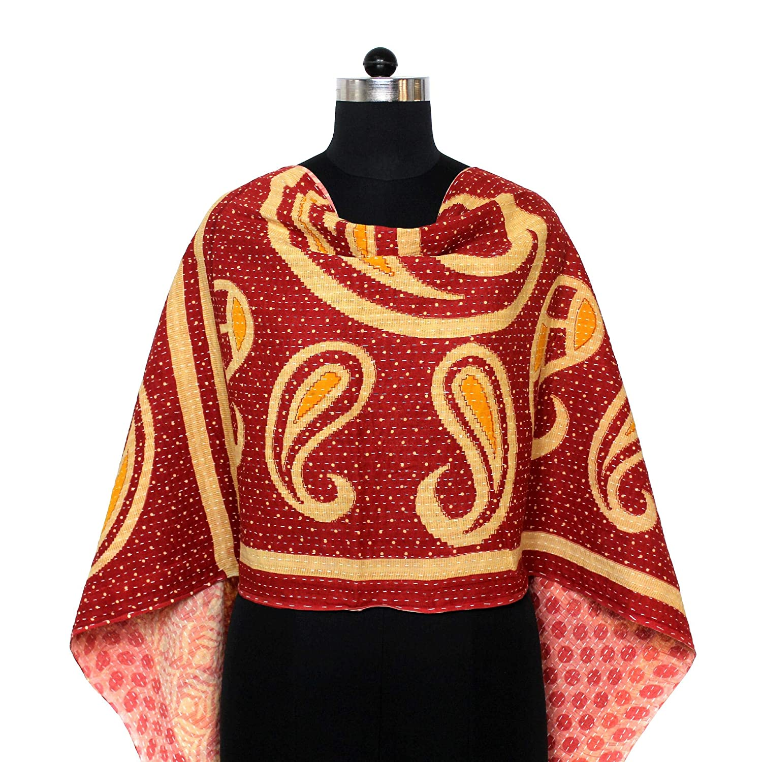 Cotton Kantha Scarf Neck Wrap Stole Hand Alternative dealer Women Veil Challenge the lowest price of Japan Quilted Band