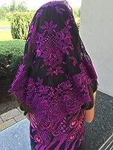 Purple black Spanish Style veils and Mantillas Mantilla Church Chapel Lace Mass Large-PBSP
