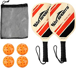 Win SPORTS Wooden Pickleball Paddle Set   Beginner Racket   Pickle Ball Paddles with 2 Paddles,4 Balls and 1 Carry Bag   Durable and Classic