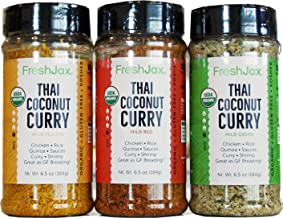 FreshJax Gourmet Thai Coconut Curry Yellow, Red and Green Large 6.5 oz (3 Pack)