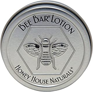 Honey House Solid Lotion Bee Bar - No Added Scent - 0.6 oz - New in Silver Embossed Tin Case