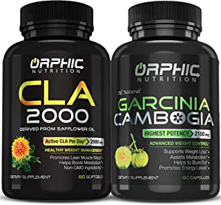 Garcinia Cambogia Extract 2100 MG & CLA Safflower Oil Supplement 2000mg (90 Caps + 60 softgels) - Appetite Suppressant, Me...