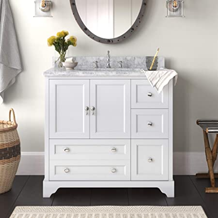 Madison 36-inch Bathroom Vanity (Carrara/White): Includes White Cabinet with Authentic Italian Carrara Marble Countertop and White Ceramic Sink