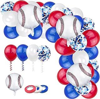 100PCS Baseball Theme Balloons Baseball Theme Party Decorations Kit Baseball Foil BalloonsRed Blue White Sport Balloonsf...