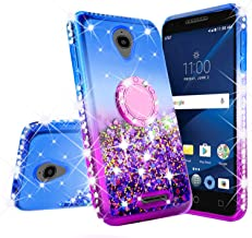 Alcatel Verso/IdealXCITE/CameoX/Raven LTE (A574BL)/U50 (5044R) Case Bling Liquid Glitter Shock Proof Phone Case Ring Kickstand Diamond Cute Girls Women Cases for Alcatel Raven (Purple/Blue)
