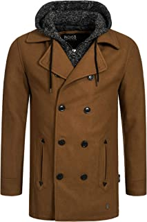 Indicode Uomo Cliff Cappotto Corto in Misto Lana di Alta qualità con Colletto Alto | Corto Cappotto di Lana Moderno Cappot...