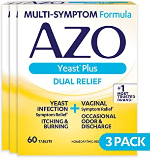 AZO Yeast Plus Dual Relief Homeopathic Medicine | Yeast Infection Symptom Relief: Itching & Burning | Vaginal Symptom Relief: Occasional Odor & Discharge | #1 Most Trusted Brand | 60 Tablets | 3 Pack