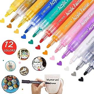 CH HAICHENG 12 Couleurs Marqueurs Peinture Acrylique pour Pierre, Pierre, Bois, Métal, Verre, Plastique, Toile et Céramiqu...