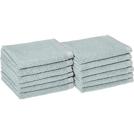 Amazon Basics Quick-Dry Washcloth - 100% Cotton, 12-Pack, Ice Blue