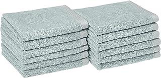 AmazonBasics Quick-Dry Bathroom Washcloth, 100% Cotton, Set of 12, Ice Blue