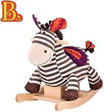 B toys – Kazoo Wooden Rocking Zebra – Rodeo Rocker – BPA Free Plush Ride On Zebra Rocking Horse for Toddlers and Babies 18m+
