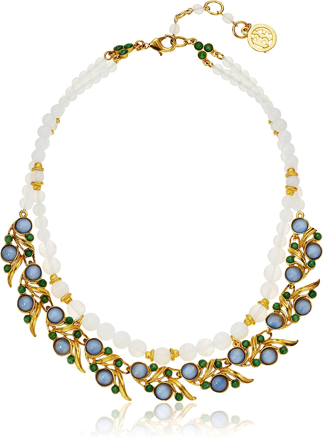 Ben-Amun Jewelry Row Moon Bead with Gold Leaf Links Strand Necklace, 15