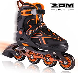 2PM SPORTS Torinx Orange/Red/Green Black Boys Adjustable Inline Skates, Fun Rollerblades for Kids, Beginner Roller Skates for Girls, Men and Ladies