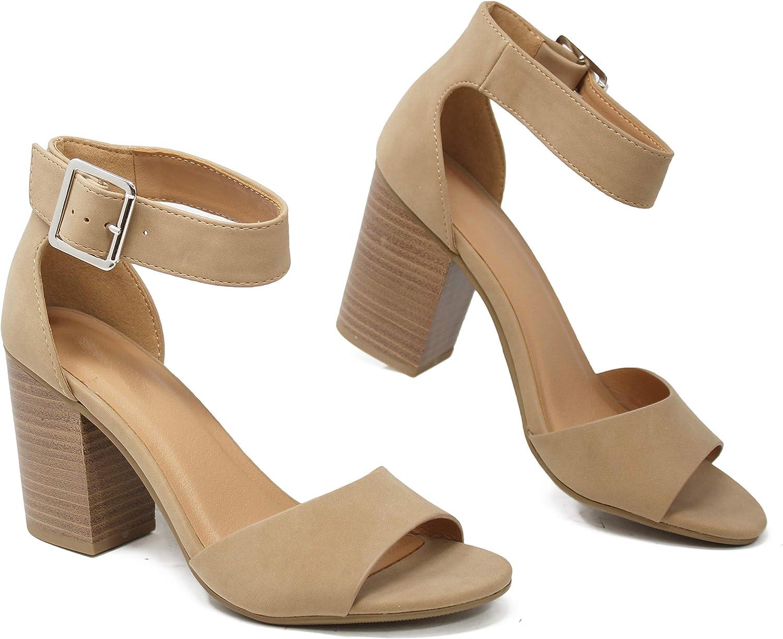 Soda Women's Ankle Strap Block Heeled trend rank H Summer Sandal Open New life Toe -