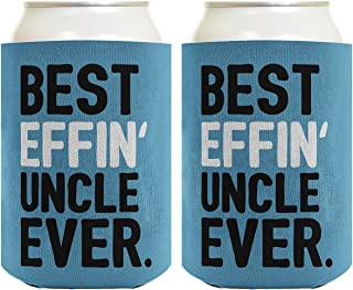 Best Uncle Gifts Best Effin' Uncle Ever Funny Cool Uncle Gifts 2 Pack Can Coolie Drink Coolers Coolies Blue