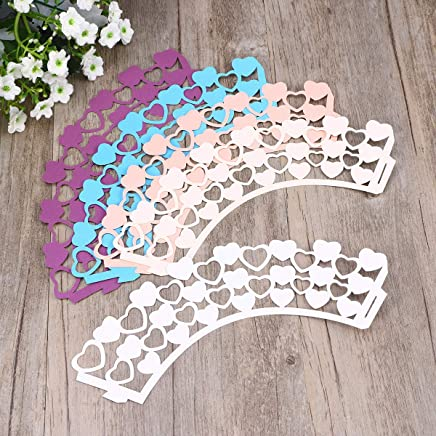 TOYANDONA 50pcs Cupcake Wrappers Lace Cupcake Liners Cake Holder Mousse Wrapper Muffin Cups for Wedding Celebration Blue