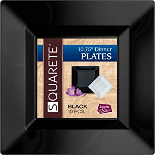 Squarete 10.75'' inch Black Dinner Square Party Plates Hard Plastic Elegant Disposable Heavy Duty. 10 Square Dinner Plates Per Package Pack of 3