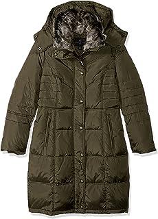 معطف متعرج للسيدات من لندن فوج مع غطاء رأس مزخرف بالفرو الصناعي