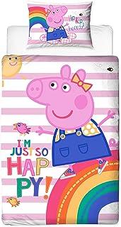 Peppa Pig Friends - Funda de edredón con Funda de Almohada a Juego, poliéster, algodón, Color Rosa, Individual