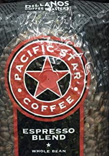 2 Pounds Pacific Star Whole Bean Coffee Espresso Blend