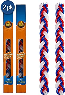 Ner Mitzvah Braided Havdalah Candle - 2-Pack - Large 15-Inch Red, Blue and White Paraffin Wax - Handcrafted Havdallah Candle - Shabbat Judaica Gift
