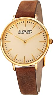 August Steiner Grained Clear Women's Watch - Quartz Movement On Nubuck Leather Bracelet - AS8187